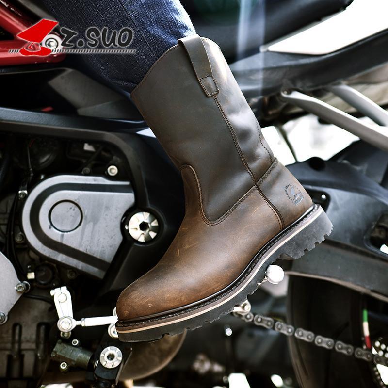 6474fca9 Compre Z.Suo Moda Hombre Mujer Motocicleta Botas De Cuero De Alta Calidad  Retro Western Botas Motocross Moto Montar A $150.0 Del Yaseri | DHgate.Com