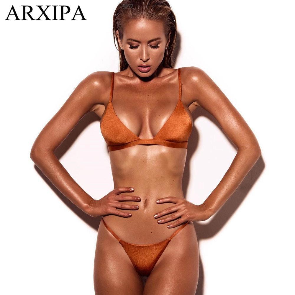 fd1ea1cd924cc 2019 ARXIPA 2019 Sexy Micro Bikini Set Triangle Swimsuit Women Solid  Swimwear Thong Bathing Suit Mini Biquini Beachwear Swim Wear Hot From  Cyril03