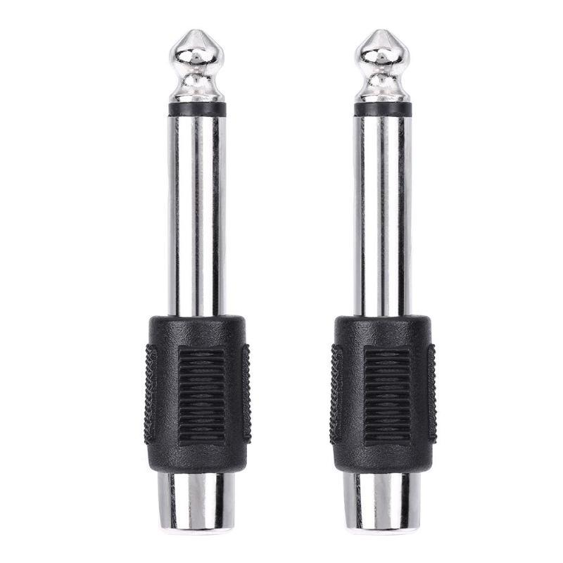 wholesale 4pcs RCA/AV Female Jack to 6.35mm 1/4 Inch Male Mono Audio Adapters Connectors Plugs for DIY FM