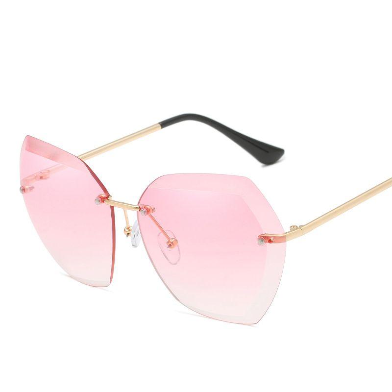 5ec125659283 Pink Gradient Rimless Sunglasses For Women Oversized Eyewear New Fashion  Sun Glasses Female Summer Travel Essential UV400 2018 Mens Sunglasses  Police ...