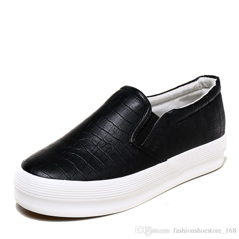 7a1652172 Compre Sapatilhas De Plataforma 2019 Primavera De Couro De Solas Grossas  Senhoras Sapatos Casuais Mulheres Sapatos De Plataforma Mulher Tênis Sliver  ...