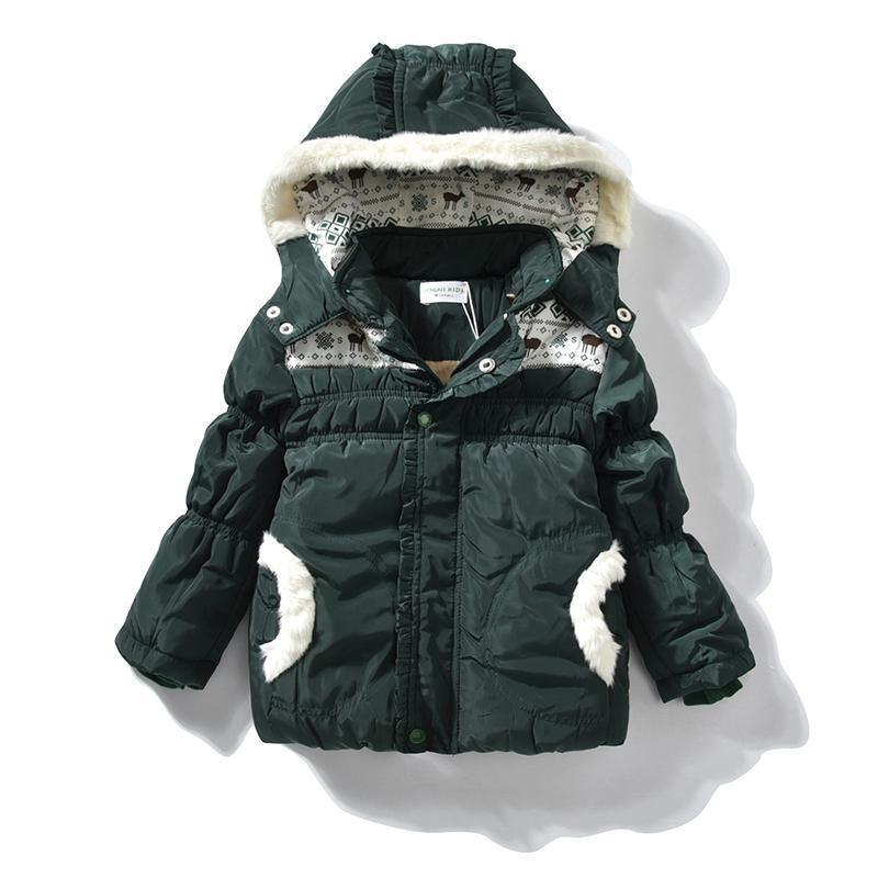 57c59548d214 Winter Jackets Girls Parka With Fur Hood Christmas Baby Girl Green ...