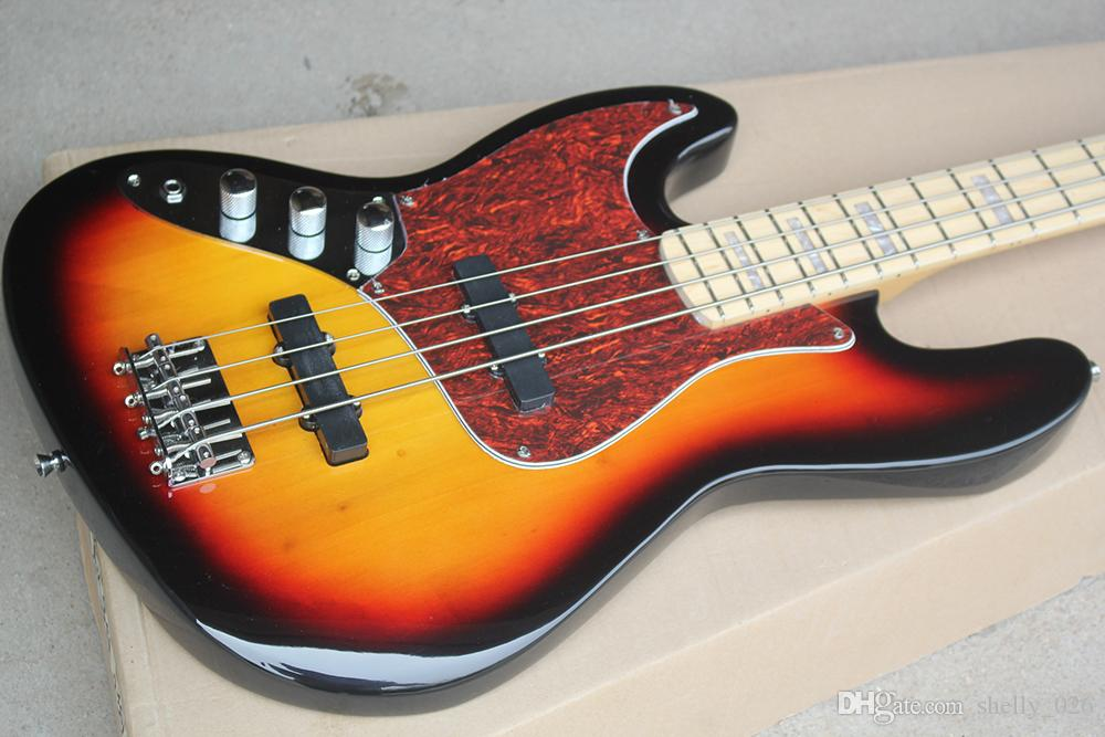 Free shippingFactory 4 Strings Left Hand Sunburst Electric Bass Guitar with Red Tortoise Pickguard,Maple Fretboard,