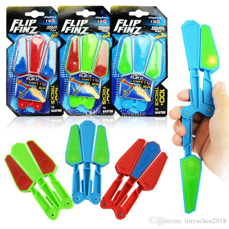 Flip Finz Fidget Plastic Spinner Toys Blue Red Green Twirl Flip Light Up With LED OVP Endless Addictive Fun Assorted Toys For Teenagers