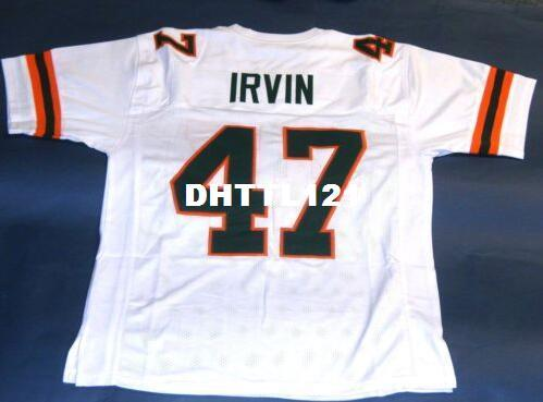 Men #47 MICHAEL IRVIN CUSTOM UNIVERSITY OF MIAMI HURRICANES JERSEY College Jersey size s-4XL or custom any name or number jersey