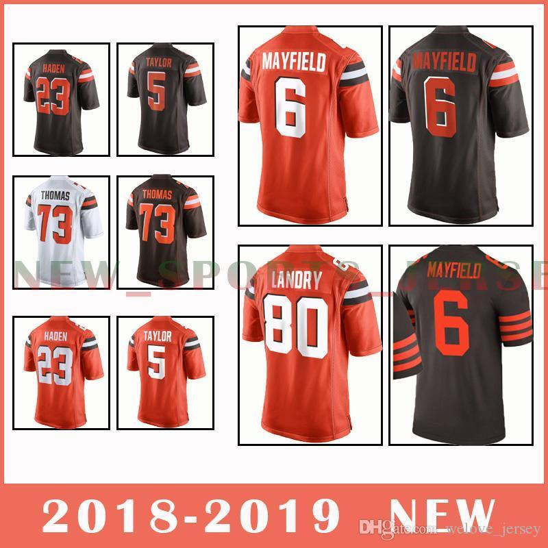online retailer 21133 aa1c6 6 baker mayfield jersey Browns Jersey 80 Jarvis Landry 23 Joe Haden very  popular Cleveland Men's football 2019 new edition