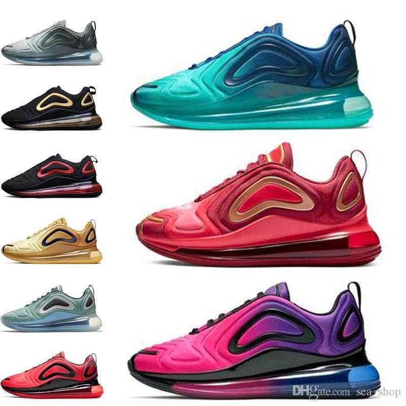 Nike air max 720 Zapatillas de correr Hombres Mujeres 2019 La mejor calidad Negro Blanco Desierto Rosa Mar Zapatos deportivos Zapatillas de deporte de