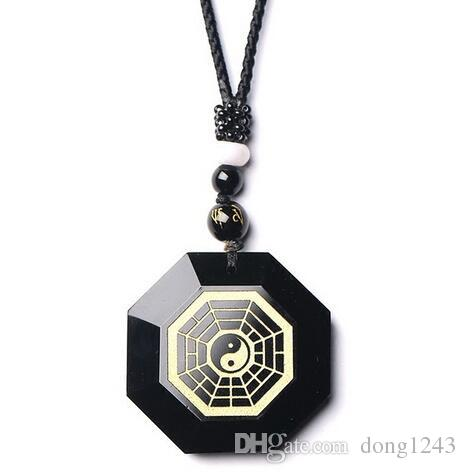 100% Natural Black Obsidian Chinese Carved Bagua Lucky Face Pendant + Fashion Crystal Necklace For Woman Man Jewelry