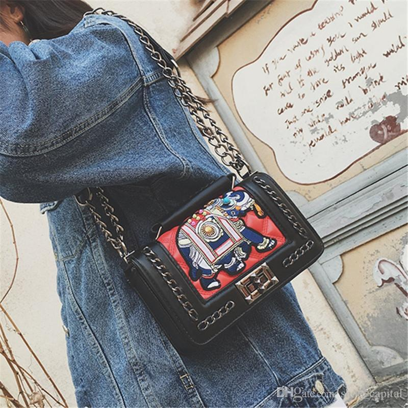 2018 Winter the new embroidery chain small square bag han edition woven handbag fashion, fashion, cross-wrap #113264
