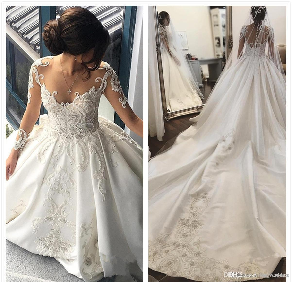 2019 Dubai Arabic Wedding Dresses Lace Appliques Off: 2019 Vintage Arabic Dubai Princess Wedding Dress Sheer
