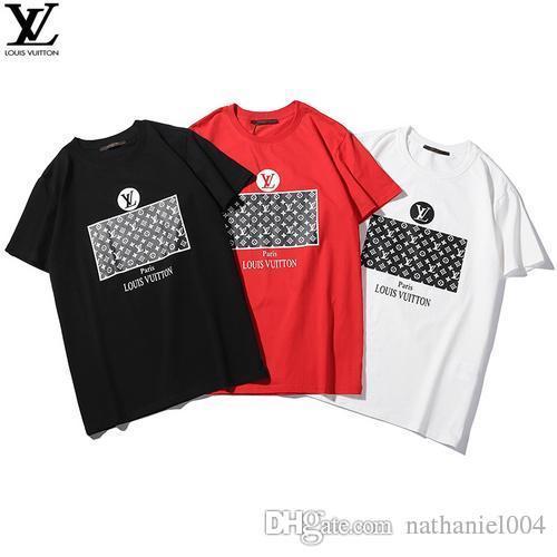 5e5d4f1293 100% cotton Multi color mens women summer fashion tshirt t tee shirt top  quality Hoodie #40 LOUIS VUITTON LV