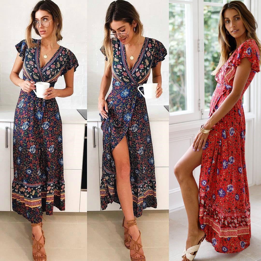 ee67cbc8be46 Indie Folk Women Ladies Flower Print Short Sleeve Dress Fashion Women Girl  Elegant Summer Boho V Neck Dress Dress For A Party Summer Lace Dress From  ...