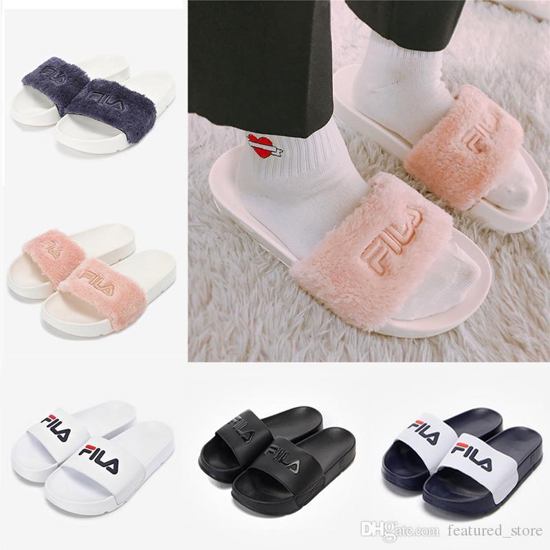 8d0c68079 Hot Sale Fur Brand Disruptor2 Sandal Slippers Men Women Winter Sandals  Black White Anti Slipping Outdoor Soft Warm Shoes Beach Sandals Silver  Shoes Slipper ...