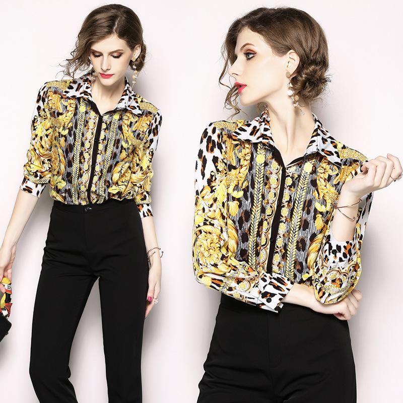 c0114ed92648b Compre Camisa De Mujer Casual Blusa Delgada Leopardo Impreso Manga Larga  Slim Fit Elegante Camisa Camisetas Tops De Moda Para Niña A  56.36 Del  Preetybeauty ...