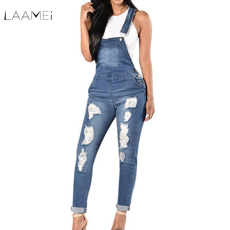 ddcee77ffa 2019 Laamei 2018 New Spring Women Overalls Cool Denim Jumpsuit Ripped Holes  Casual Jeans Sleeveless Jumpsuits Hollow Out Slim Rompers Y1891808 From ...