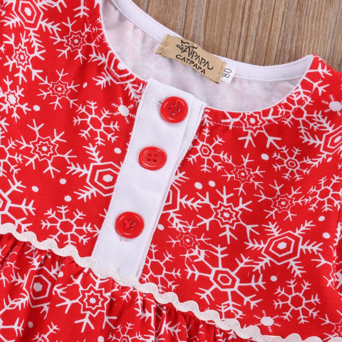 Tout-petit Noël Princesse Robe enfants Kid Girl Party Vêtements Snowflake Robes Robe 0-4Y