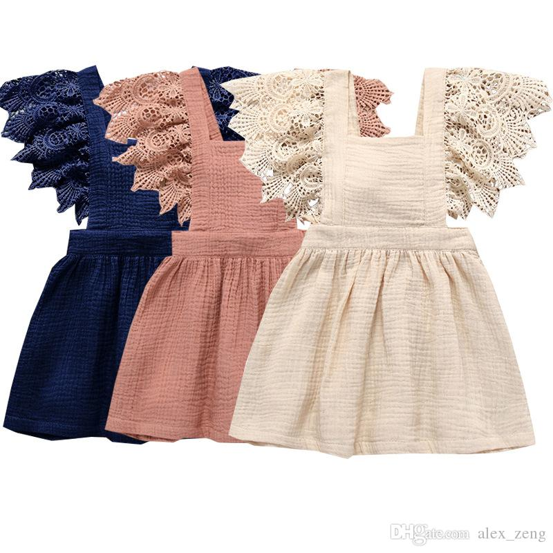 Baby Girls Dresses Kids Lace Sleeve Solid Soft Cotton Linen Back Bowknot Dress 2019 New Summer Fashion Children Lace Dress Clothing