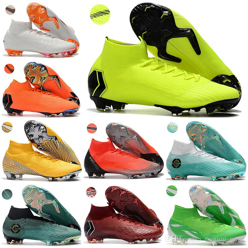 efaf34c6a 2018 Kids High Ankle Football Boots Youth Boys CR7 Mercurial Superfly VI  360 Elite FG Soccer Shoes Men Women Neymar ACC Soccer Cleats Superfly VI  Superfly ...