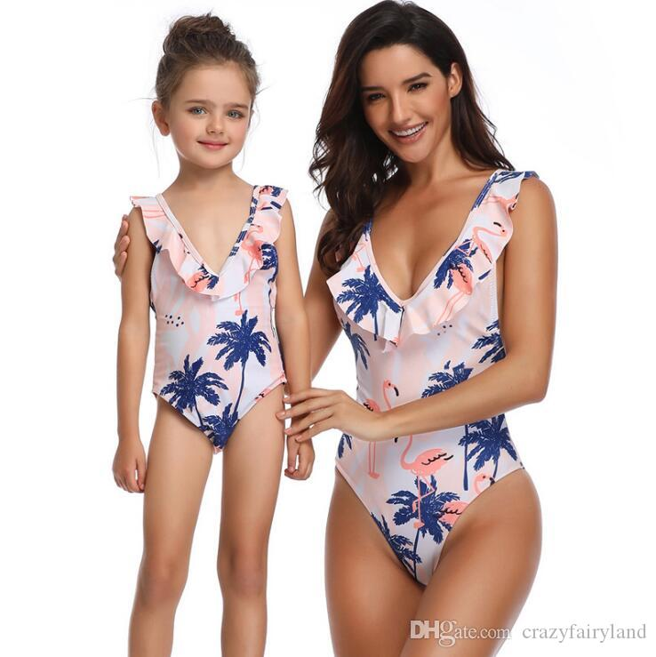 241362c24d357 2019 Mother And Daughter Backless One Pieces Swimwear 2019 Summer Girls  Floral One Pieces Bathing Suits Family Matching Mommy Daughter Swim Suit  From ...