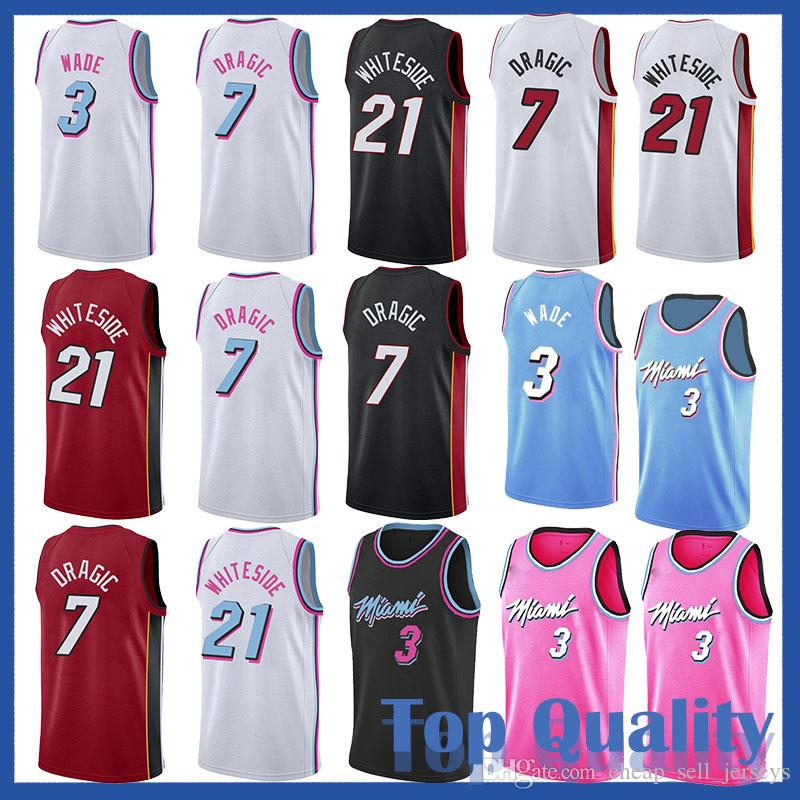 the latest e0bee 8cd82 Miami 3 Wade jerseys Heat 21 Whiteside men Heat jersey Goran 7 Dragic  besketball jersery