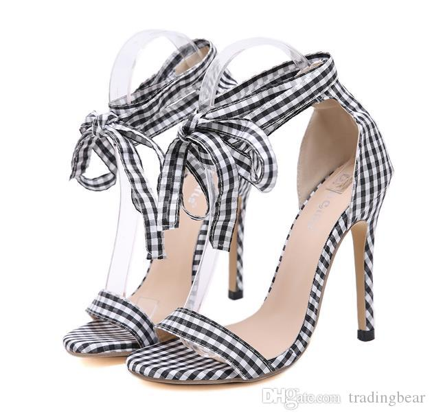 61cb481fce8432 Lolita lovely small plaid cloth ankle wrap high heel designer sandals red  black size 35 to 40