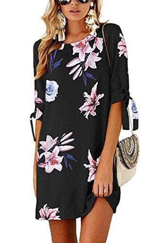 VNOOK Damenkleider Sommer Blumendruck Bohemian Roll-Up Sleeve Freizeithemd Kleid
