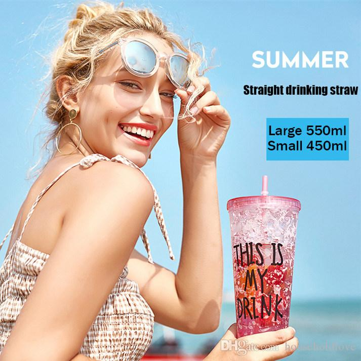 Broken Ice Cup Summer Straw Small Fresh Girl Heart Korean Version Of The Student Plastic Gradient Color Cooling Water Bottle Glass Bpa Free