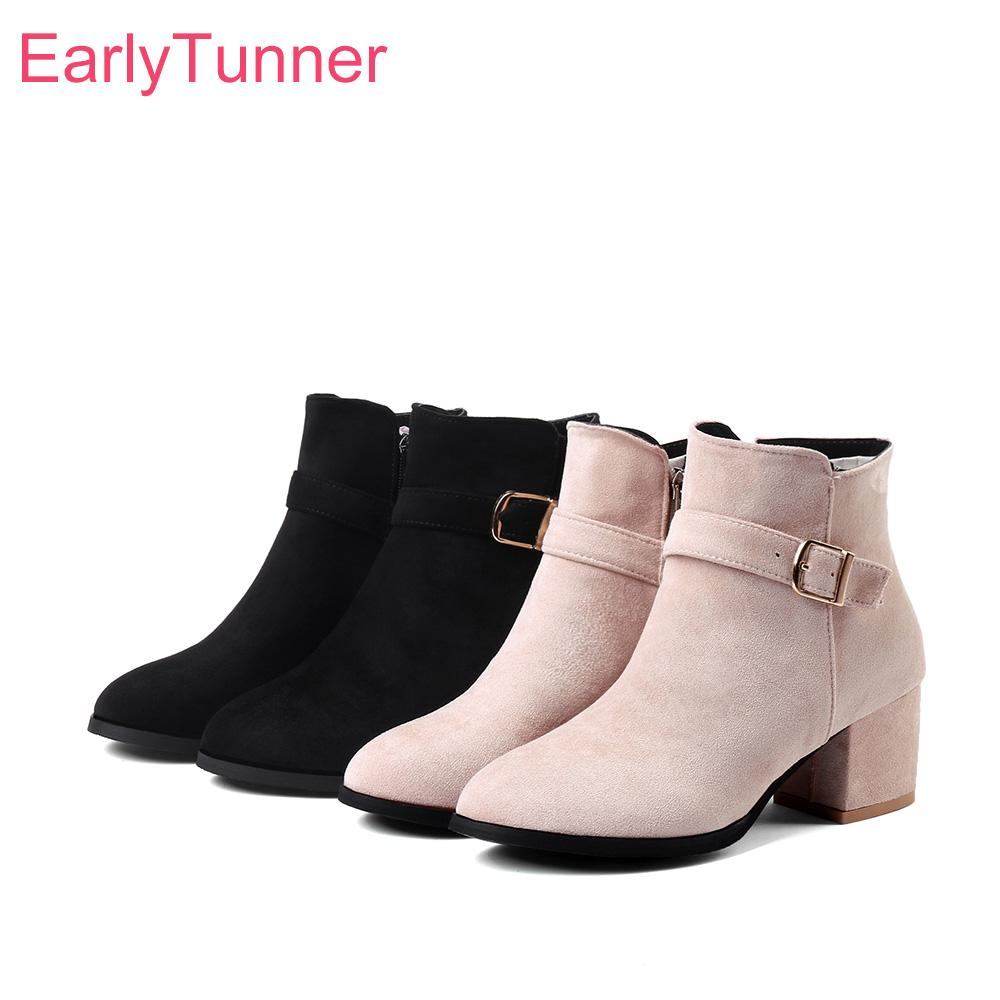 e736ab5e92a2 Brand New Comfortable Black Apricot Women Ankle Dress Boots Fashion Lady  Riding Shoes High Heels EC53 Plus Big Size 10 32 43 45 Sexy Shoes Boots  Shoes From ...