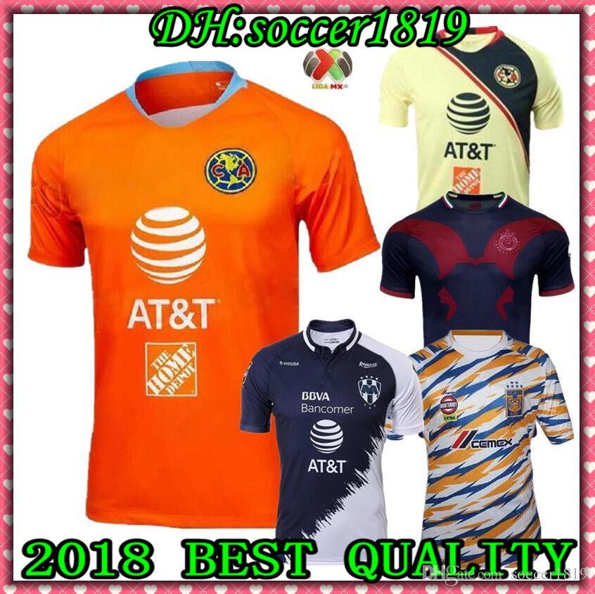 a82ffc0c4 Satın Al 2018 2019 Meksika LIGA MX Kulübü Amerika Futbol Formaları Ev 18 19  20 Apertura A18 KAMYON Üçüncü Xolos De Tijuana Chivas Tigres Futbol Gömlek