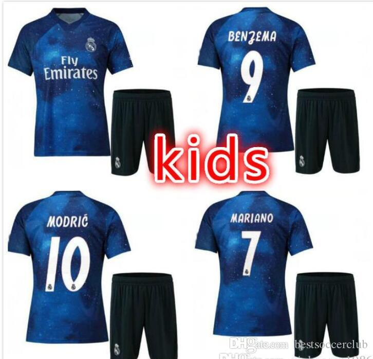 ec8c0c9be 2019 Kids Kits 2018 2019 EA Sports Real Madrid Soccer Jersey 18 19 Youth  Boy Child Home Away Soccer Shirt Modric KROOS ISCO ASENSIO BALE Football  From ...