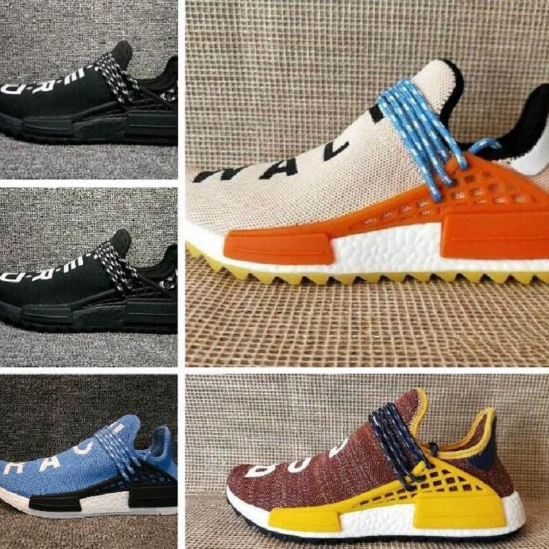 45986ca8e Cheap Human Race Running Shoes Men Women Pharrell Williams Runner Yellow  Black White Red Green Grey Blue Sports Runner Sneaker Cool Shoes Naot Shoes  From ...