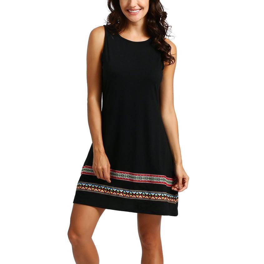 Women Vintage Dress O Neck Sleeveless Embroidery Summer Dresses