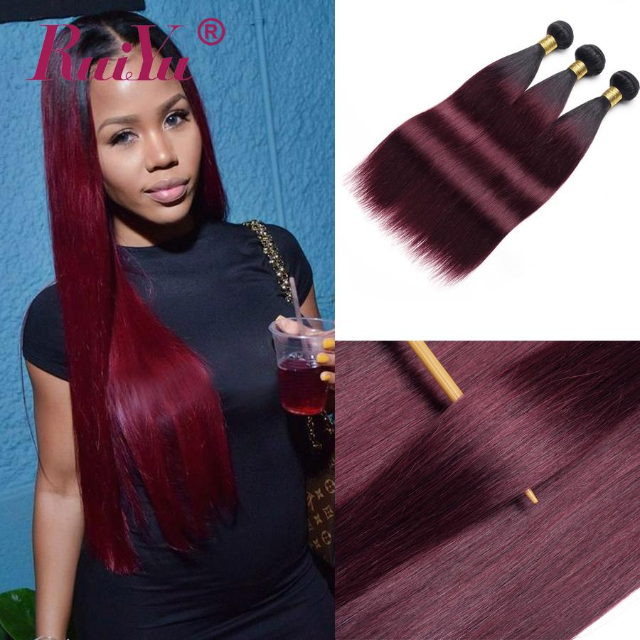 Malaysian Straight Hair Bundles 1B/Burgundy Ombre Human Hair Weave Bundles Two Tone Colored Brazilian Peruvian Remy Hair Wefts Ruiyu