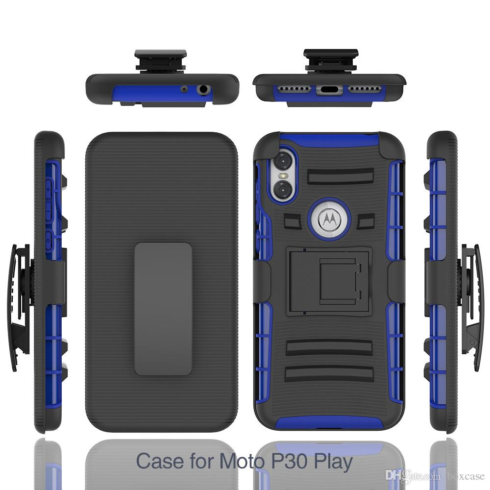 the latest f8d0f 2b172 Silicone PC Defender Holster Belt Clip Rugged Case for Motorola Moto G7 One  Power P30 Note E5 Play Go Cover with Stand