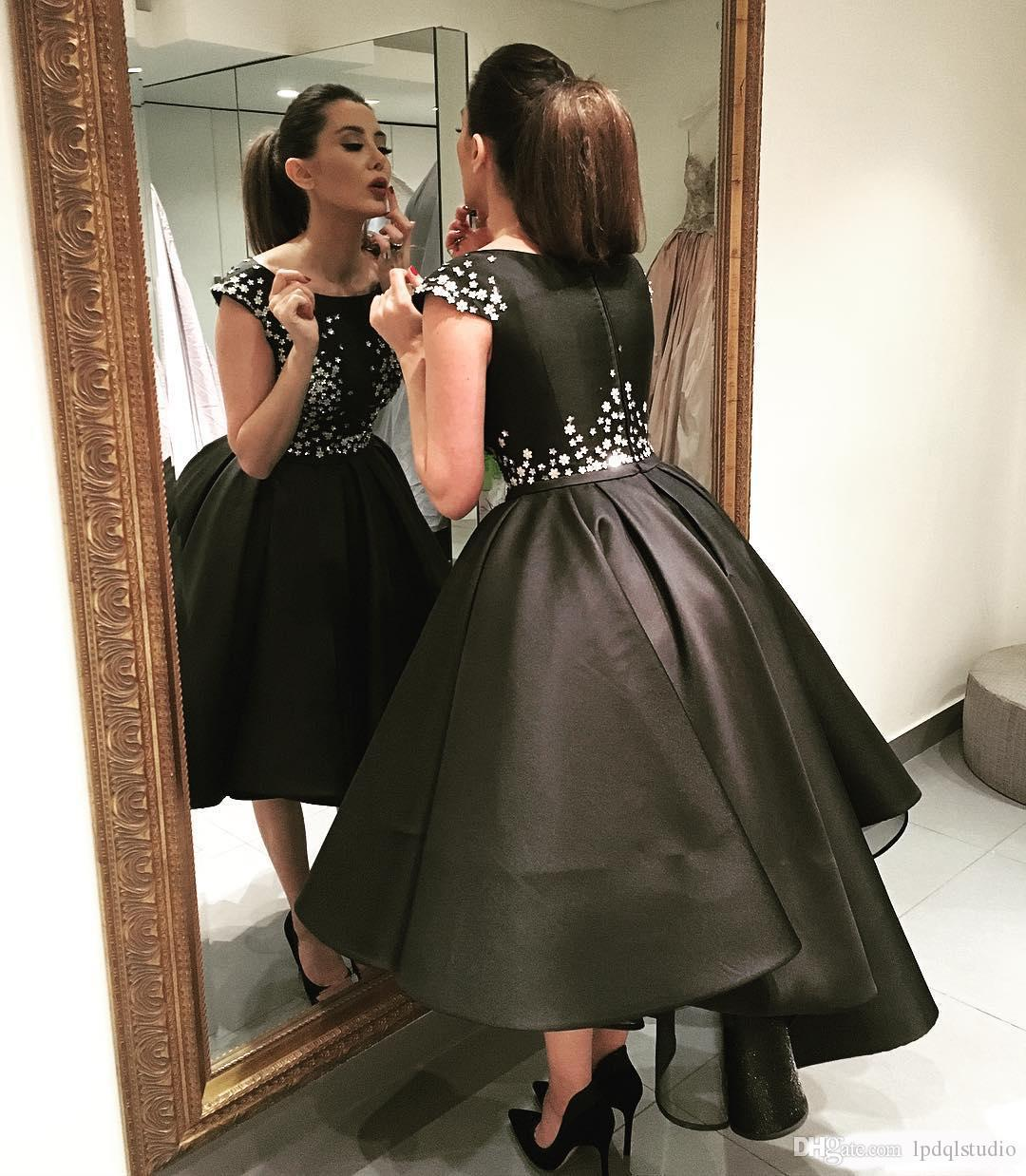 fancy black hi lo prom dresses satin ball gown party