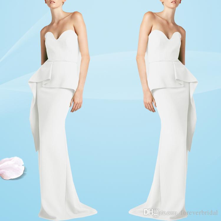 reputable site def72 9f258 Abiti eleganti da sera bianchi eleganti senza spalline con scollo a cuore  stile sirena