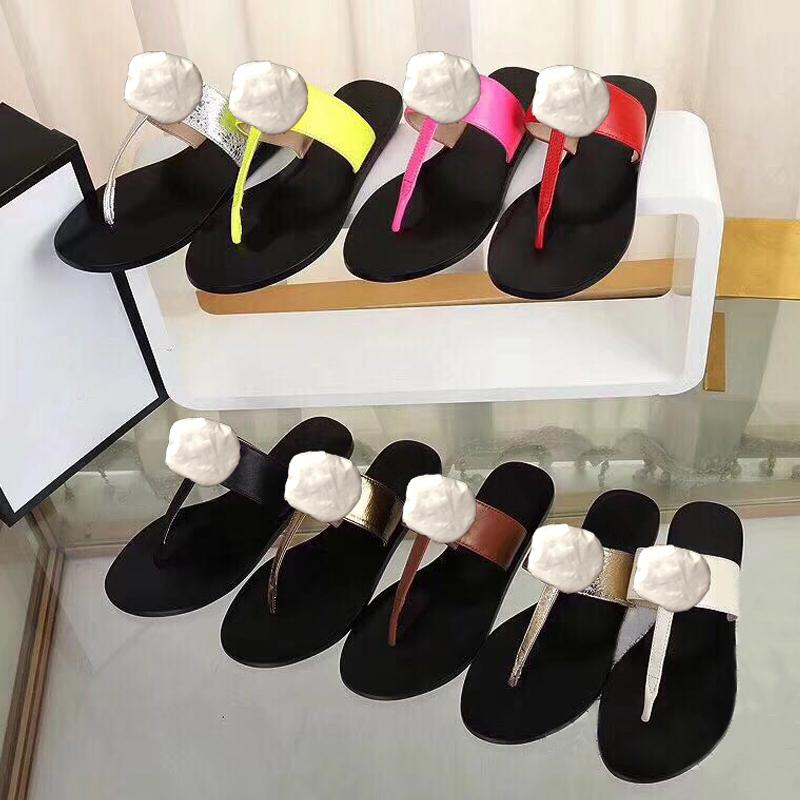 Classic woman Slippers Designer Authentic cowhide lady slippers Leather Lazy Metal buckle woman shoes beach sexy Flat bottom slippers 41 42