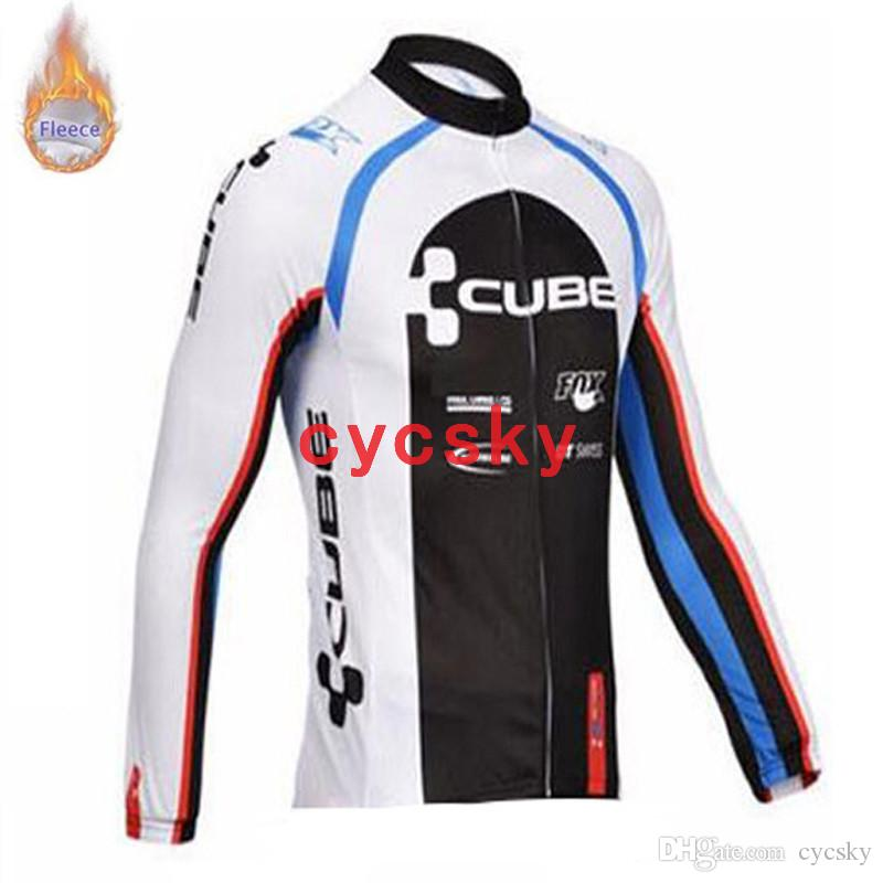 CUBE 2019 NEU Pro Team Winter Thermo Fleece Radtrikots Radsport Winter Thermo Fleece Langarmtrikot Radsportbekleidung