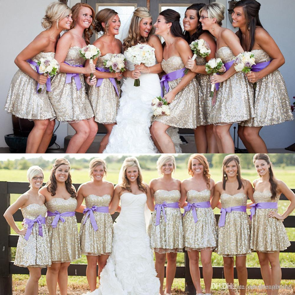 e64ae63e8b1 Gold Short Bridesmaid Dresses 2018 A Line Sweetheart Sequined With Purple  Sash Maid Of Honor Dresses SB156 Child Bridesmaid Dresses Formal Bridesmaid  ...