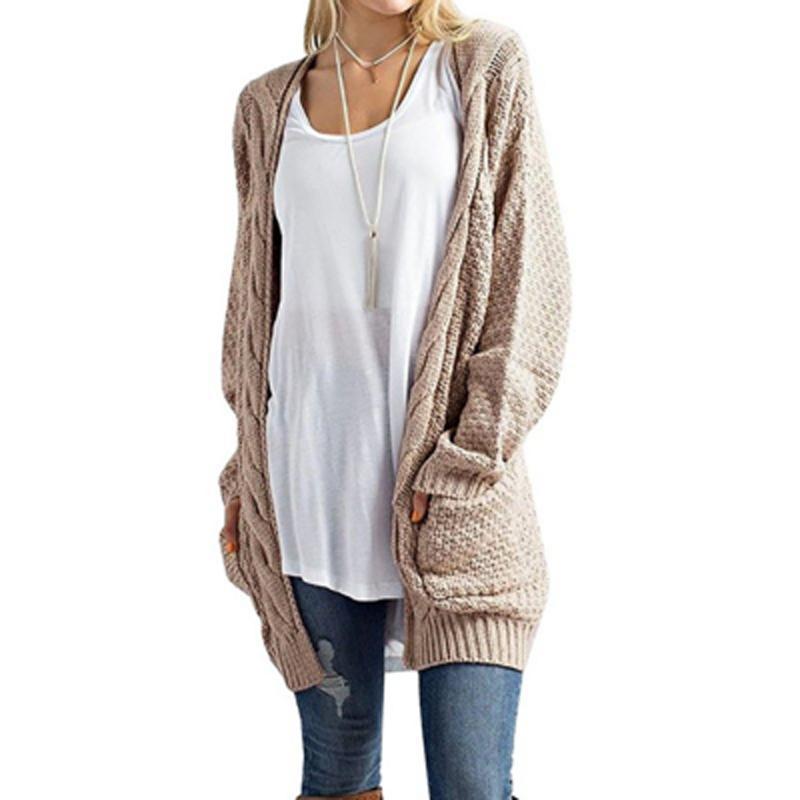 pretty nice 838ee 7cad3 MoneRffi Cardigan lungo donna manica lunga maglia maglione a torsione  cardigan Primavera autunno donna maglioni 2019 maglia Mujer Invierno