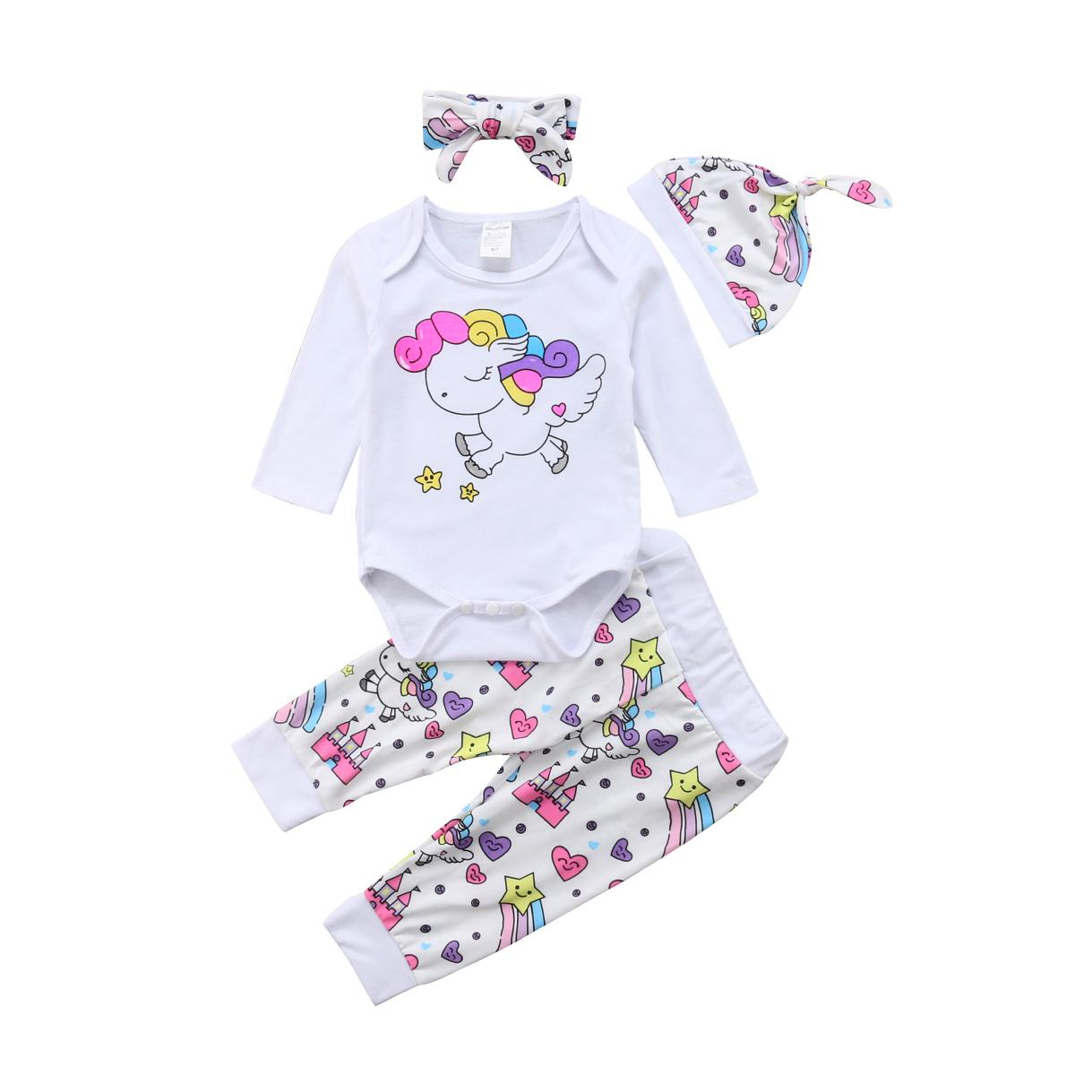 659d7bc329ac 2019 Cute Newborn Infant Baby Girl Unicorn Cartoon Tops Long Sleeve Romper  Long Pants Hat Headband Outfits Clothes Set From Ycqz3