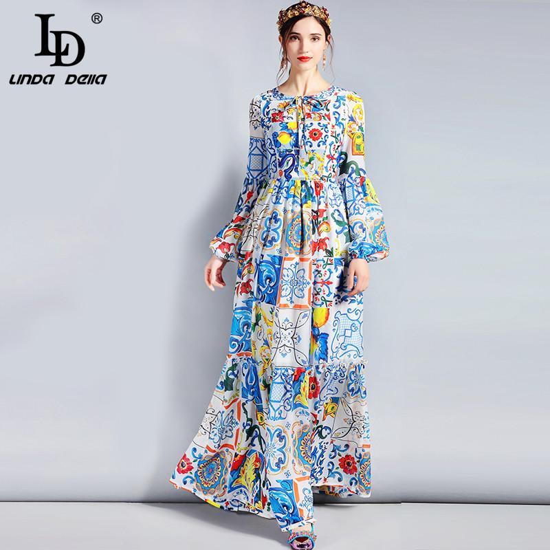 wholesale Fashion Designer Maxi Dress 3XL Plus size Women\'s Long Sleeve  Boho Colorful Flower Print Casual Long
