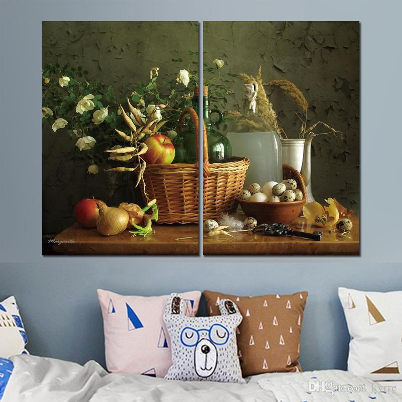 Canvas prints art still life apples basket eggs 2 modular pictures wall pictures printed on canvas for decor no frame