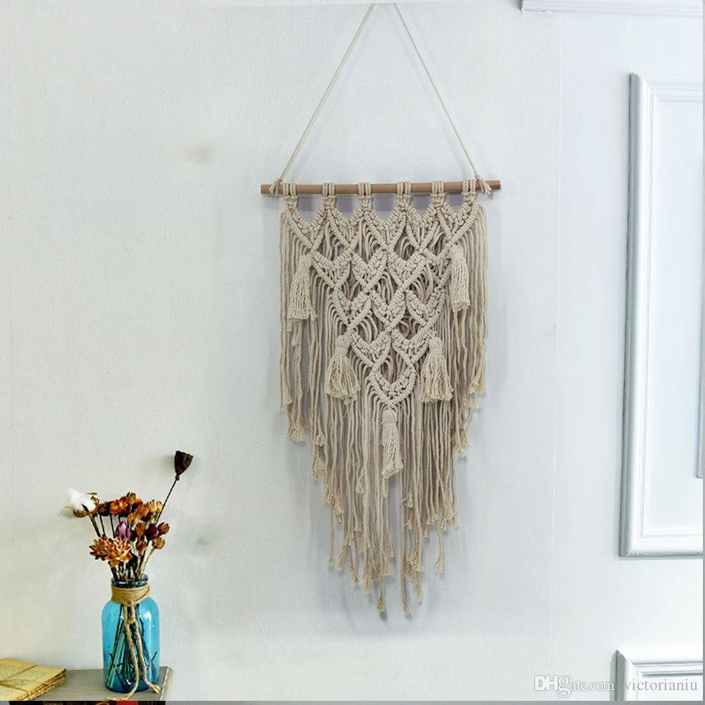 177f879fe1c1f Bohemia Tapestry Home Cafe Decor Handmade Macrame Cotton Woven Wall Art  Hanging Carpet For Wall Decoration Weaving Wall Hangings Western Tapestry  From ...