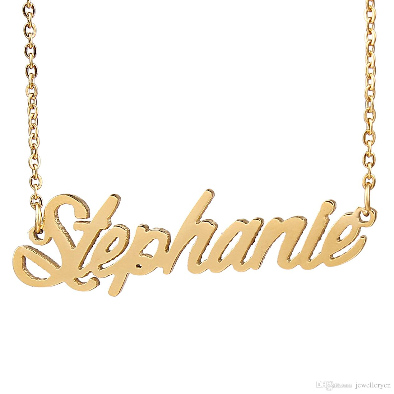 878c9a6167c76 Personalized custom 18K Gold Plated Stainless Steel Script Name necklace  Stephanie Charm Nameplate Necklace Jewelry gift NL-2430