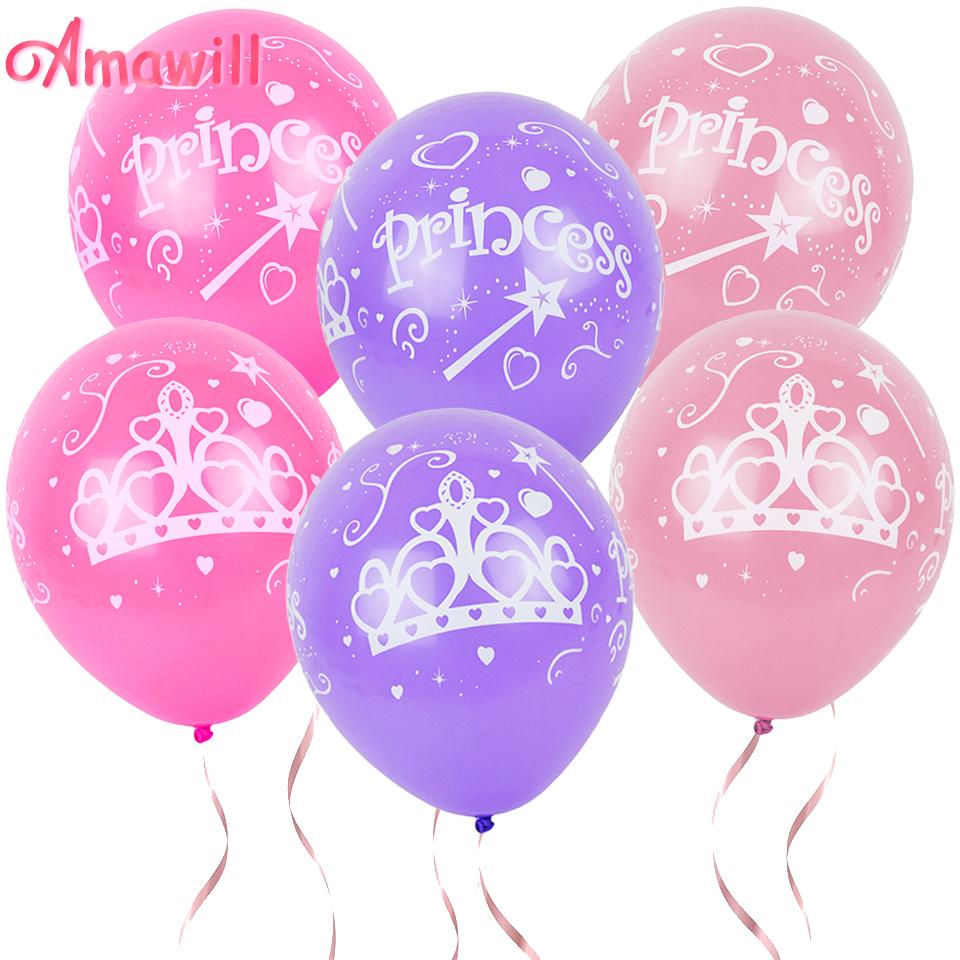 Amawill Princess Crown Printed Latex Balloons For Birthday Party Decorations Kids Baby Shower Girl Supplies 75D Wall Birthdays