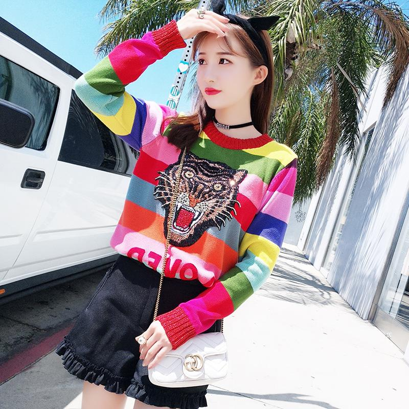918113b64c 2019 Women Sweaters Sequin Silk Embroidery Tiger Rainbow Pull Femme Head Round  Neck Stripes Luxury Women Designer Sweaters Size S XL From H15970414720