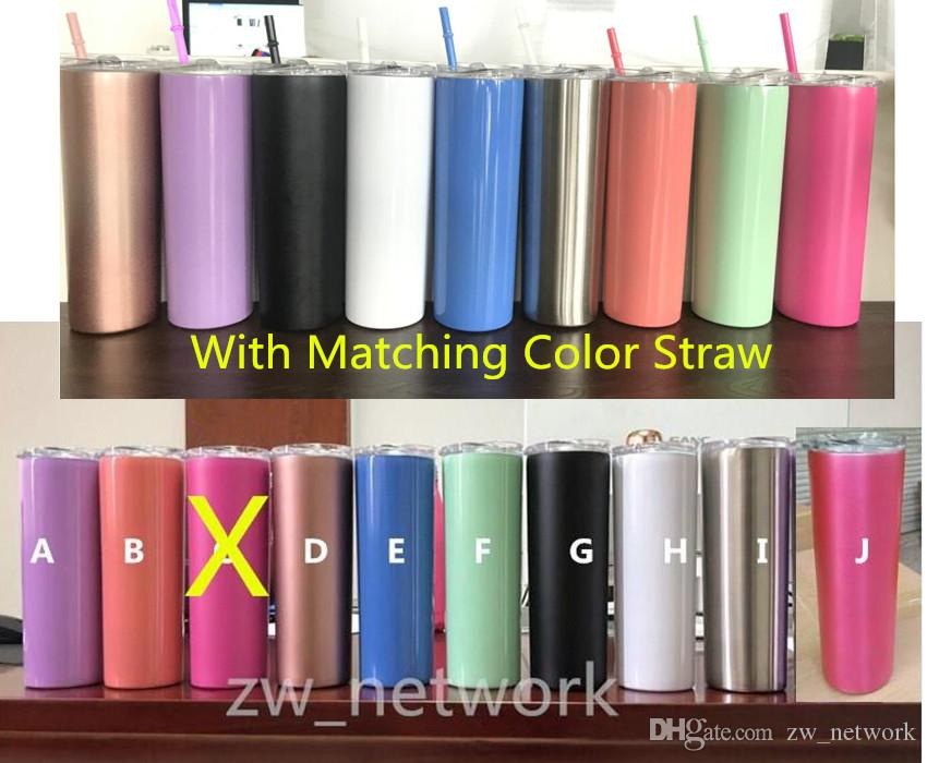FEDEX 20oz stainless steel skinny tumbler with lid straw 20oz skinny cup wine tumblers mugs double wall vacuum insulated cup water bottle