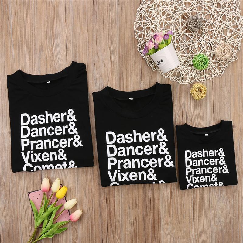 Coincidencia de Familia navidad camiseta superior ropa del otoño de las mujeres del muchacho del bebé de los niños impresión de la camisa de algodón Hoodies T blusa ropa de Navidad