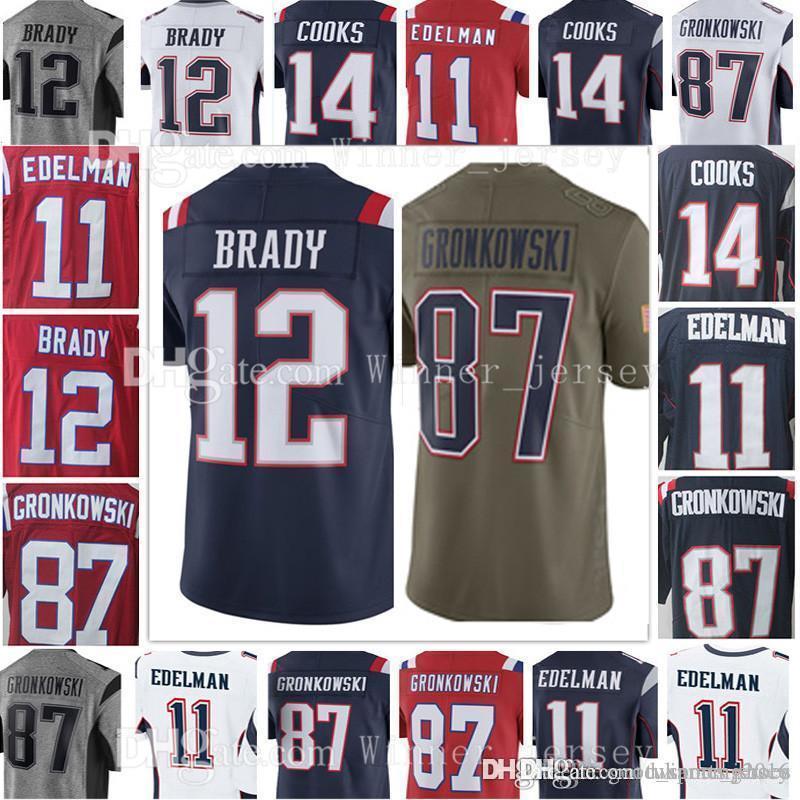 d80a1bdea Mens  12 Tom Brady  87 Rob Gronkowski Jersey  11 Julian Edelman  14 ...